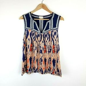 Meadow Rue Anthro Blue Ikat Sleeveless Top Size L